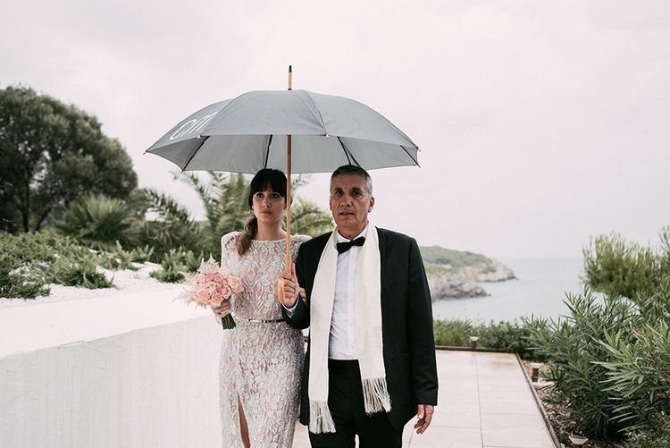 Bride in Embellished Ze García Bridal Gown with Front Split   Stylish Outdoor Wedding at Masia Casa del Mar in Barcelona, Spain   Sara Lobla Photography   Made in Video Film