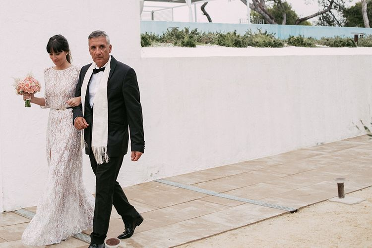 Bride in Embellished Ze García Bridal Gown with Front Split   Father of the Bride in Black Tie Suit   Stylish Outdoor Wedding at Masia Casa del Mar in Barcelona, Spain   Sara Lobla Photography   Made in Video Film