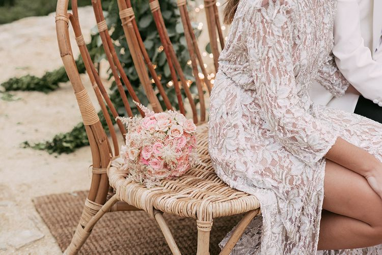 Pink Bridal Bouquet   Bride in Embellished Ze García Bridal Gown with Front Split   Stylish Outdoor Wedding at Masia Casa del Mar in Barcelona, Spain   Sara Lobla Photography   Made in Video Film