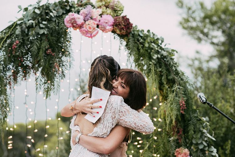 Wedding Ceremony   Bride in Embellished Ze García Bridal Gown with Front Split   Stylish Outdoor Wedding at Masia Casa del Mar in Barcelona, Spain   Sara Lobla Photography   Made in Video Film