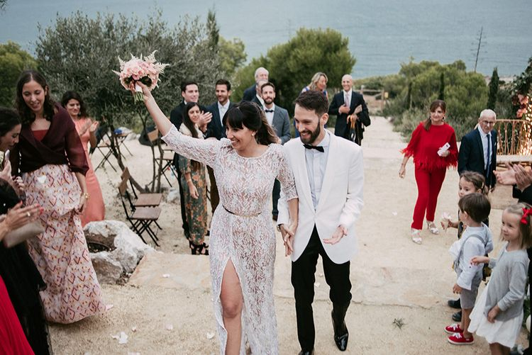 Wedding Ceremony   Bride in Embellished Ze García Bridal Gown with Front Split   Groom in Tailor Made Tom Black Suit   Stylish Outdoor Wedding at Masia Casa del Mar in Barcelona, Spain   Sara Lobla Photography   Made in Video Film