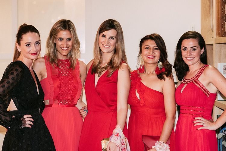 Mad on Honour in Black Dress   Bridesmaids in Different Red Desses   Stylish Outdoor Wedding at Masia Casa del Mar in Barcelona, Spain   Sara Lobla Photography   Made in Video Film