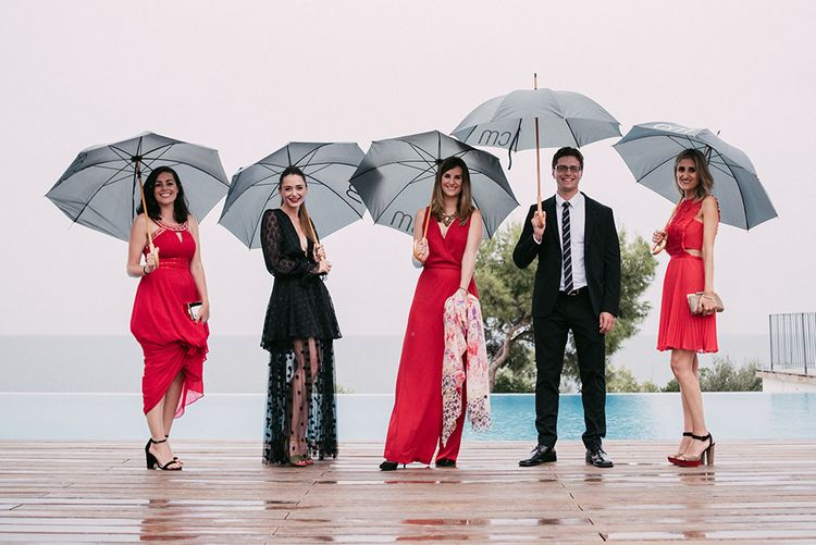 Stylish Wedding Party in Red & Black   Stylish Outdoor Wedding at Masia Casa del Mar in Barcelona, Spain   Sara Lobla Photography   Made in Video Film