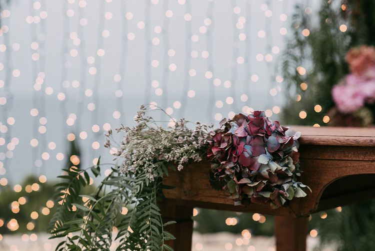 Fairy Lights & Hydrangea Flowers   Stylish Outdoor Wedding at Masia Casa del Mar in Barcelona, Spain   Sara Lobla Photography   Made in Video Film