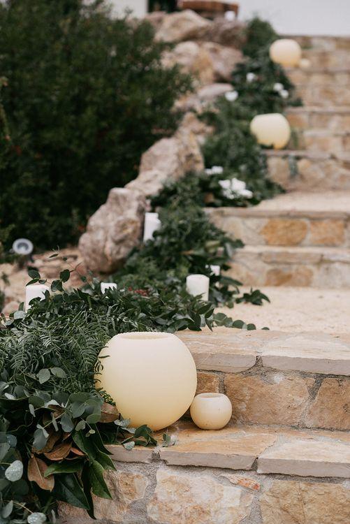 Greenery Garland & Vases Wedding Decor   Stylish Outdoor Wedding at Masia Casa del Mar in Barcelona, Spain   Sara Lobla Photography   Made in Video Film