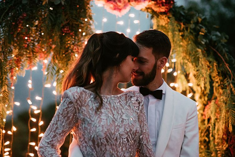 Bride in Embellished Ze García Bridal Gown with Front Split   Groom in Tailor Made Tom Black Suit   Stylish Outdoor Wedding at Masia Casa del Mar in Barcelona, Spain   Sara Lobla Photography   Made in Video Film