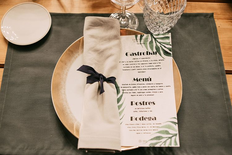 Elegant Place Setting   Palm Print Wedding Stationery   Stylish Outdoor Wedding at Masia Casa del Mar in Barcelona, Spain   Sara Lobla Photography   Made in Video Film