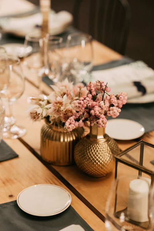 Gold Vases with Pink Berry Decor   Stylish Outdoor Wedding at Masia Casa del Mar in Barcelona, Spain   Sara Lobla Photography   Made in Video Film