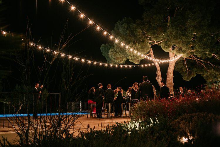 Festoon Lights   Stylish Outdoor Wedding at Masia Casa del Mar in Barcelona, Spain   Sara Lobla Photography   Made in Video Film