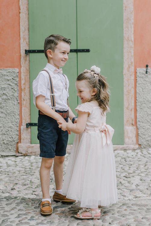 Page Boy & Flower Girl | Elegant Family Destination Wedding at Malcesine in Italy, Planned by Lake Garda Weddings | Georgina Harrison Photography