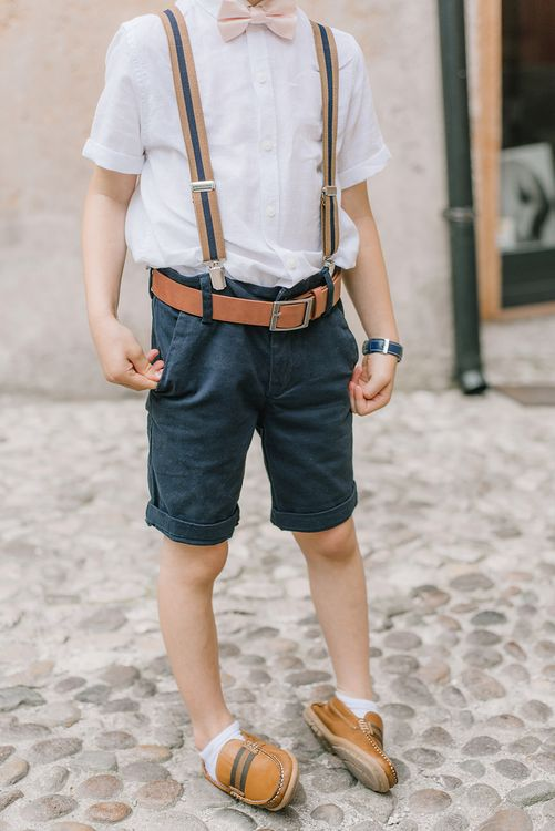 Page Boy in Next, Shorts, Braces & Bow Tie | Elegant Family Destination Wedding at Malcesine in Italy, Planned by Lake Garda Weddings | Georgina Harrison Photography