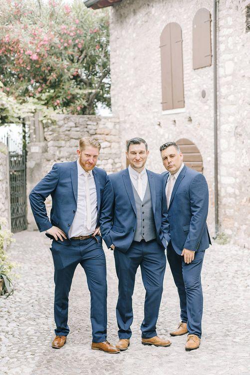 Groomsmen in Navy Next Suits | Elegant Family Destination Wedding at Malcesine in Italy, Planned by Lake Garda Weddings | Georgina Harrison Photography