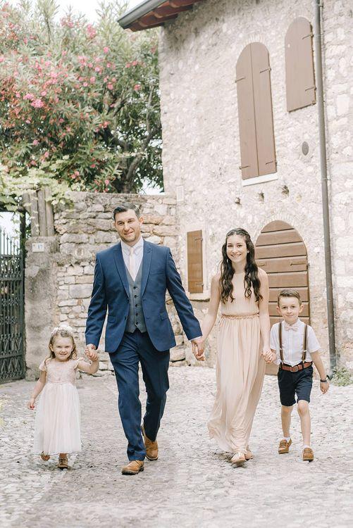 Father & Children | Elegant Family Destination Wedding at Malcesine in Italy, Planned by Lake Garda Weddings | Georgina Harrison Photography