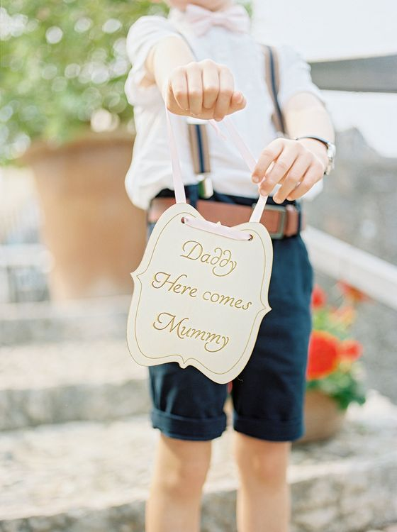 Daddy Her Comes mummy Wooden Sign | Elegant Family Destination Wedding at Malcesine in Italy, Planned by Lake Garda Weddings | Georgina Harrison Photography