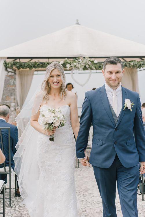 Bride in Lace Enzoani Wedding Dress | Elegant Family Destination Wedding at Malcesine in Italy, Planned by Lake Garda Weddings | Georgina Harrison Photography