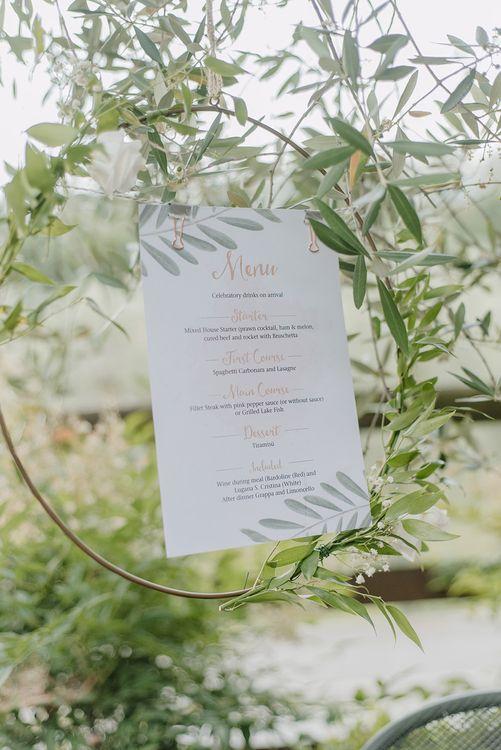 Hoop Menu Sign | Elegant Family Destination Wedding at Malcesine in Italy, Planned by Lake Garda Weddings | Georgina Harrison Photography