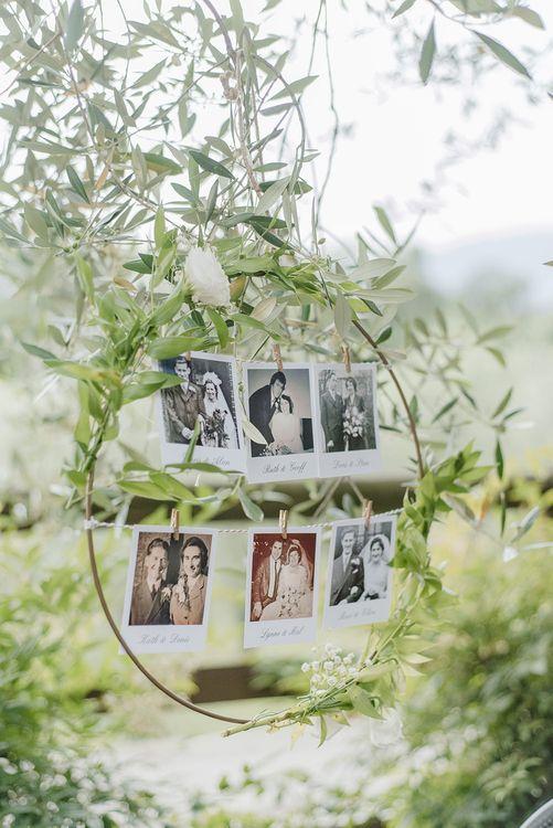 Hoop Polaroid Picture Decor | Elegant Family Destination Wedding at Malcesine in Italy, Planned by Lake Garda Weddings | Georgina Harrison Photography