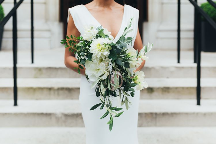 White & Greenery Cascading Bouquet