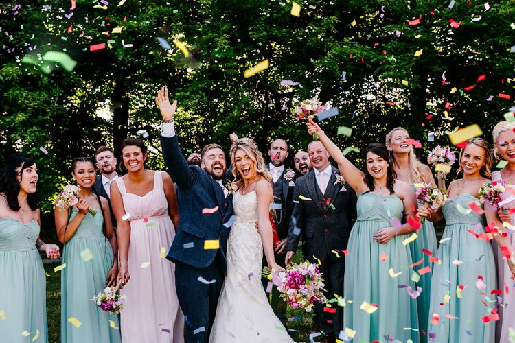 Confetti Moment   Wedding Party   Brightly Coloured Woodland Wedding   Epic Love Story Photography