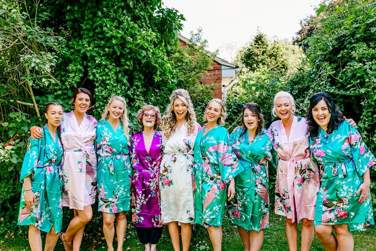 Bridesmaids in Getting Ready Robes   Brightly Coloured Woodland Wedding   Epic Love Story Photography