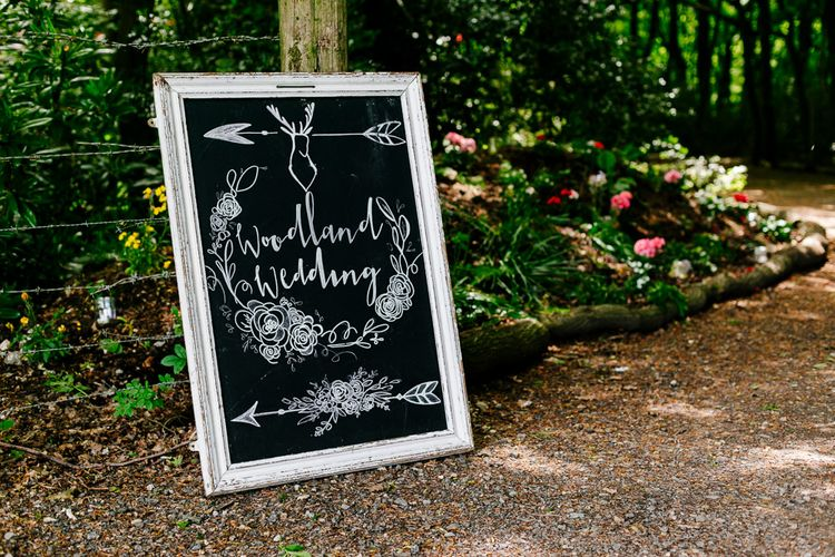 Chalkboard Wedding Sign   Brightly Coloured Woodland Wedding   Epic Love Story Photography