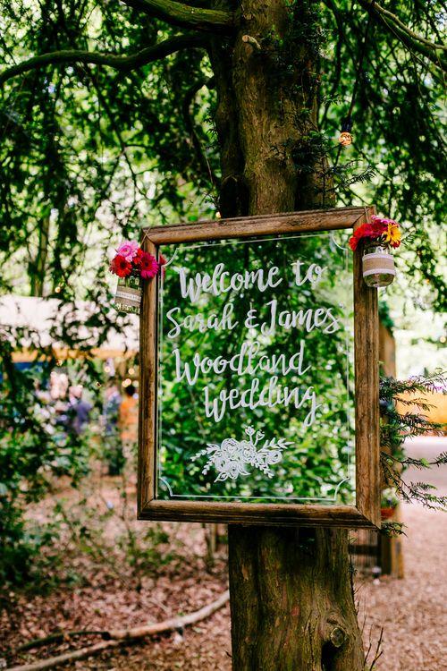 Mirror Wedding Sign   Brightly Coloured Woodland Wedding   Epic Love Story Photography