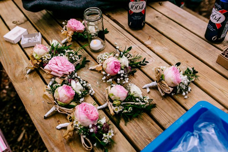 Pink Peony Buttonholes   Brightly Coloured Woodland Wedding   Epic Love Story Photography