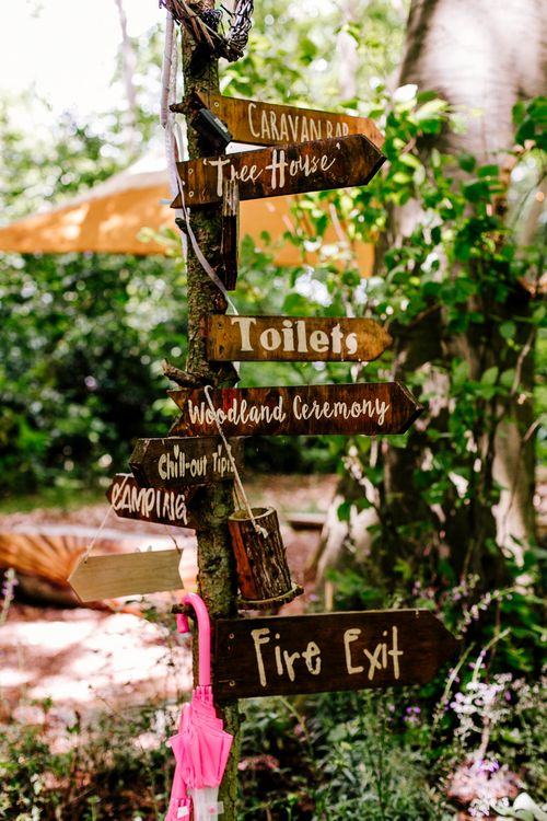 Wooden Sign   Brightly Coloured Woodland Wedding   Epic Love Story Photography
