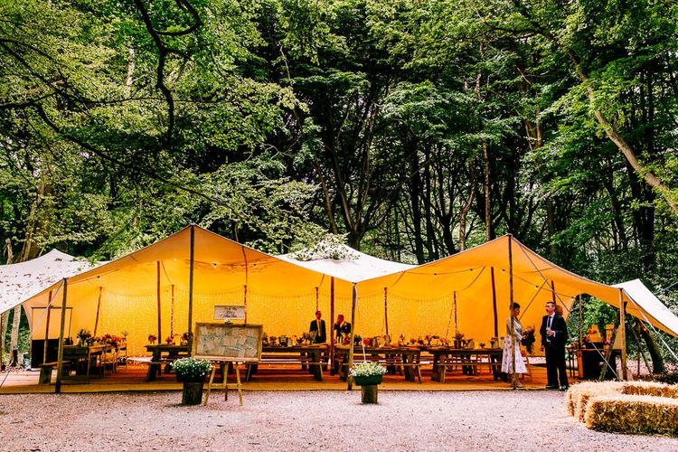 Stretch Tent Reception   Brightly Coloured Woodland Wedding   Epic Love Story Photography