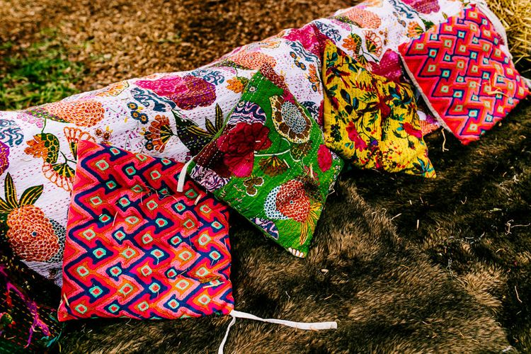 Brightly Coloured Cushions Wedding Decor   Brightly Coloured Woodland Wedding   Epic Love Story Photography