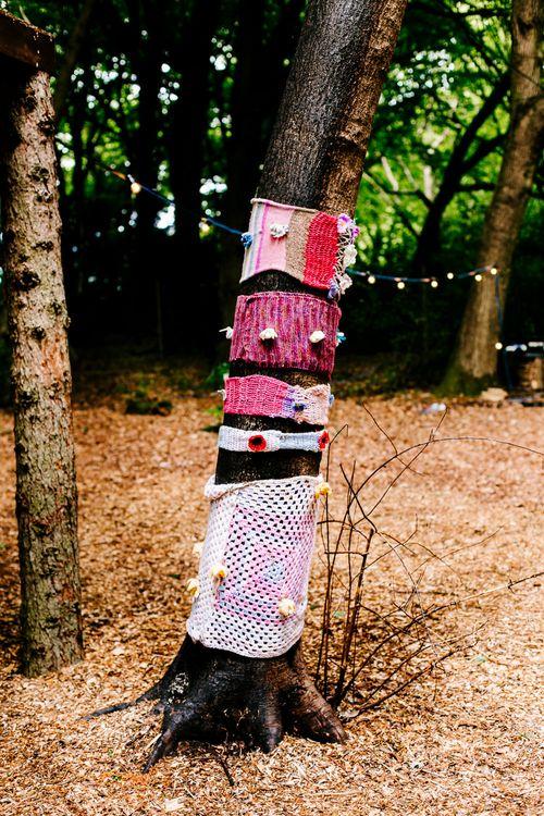 Crochet Tree Decor   Brightly Coloured Woodland Wedding   Epic Love Story Photography