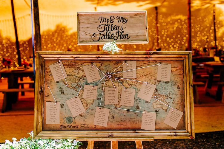 Vintage Map Table Plan   Brightly Coloured Woodland Wedding   Epic Love Story Photography