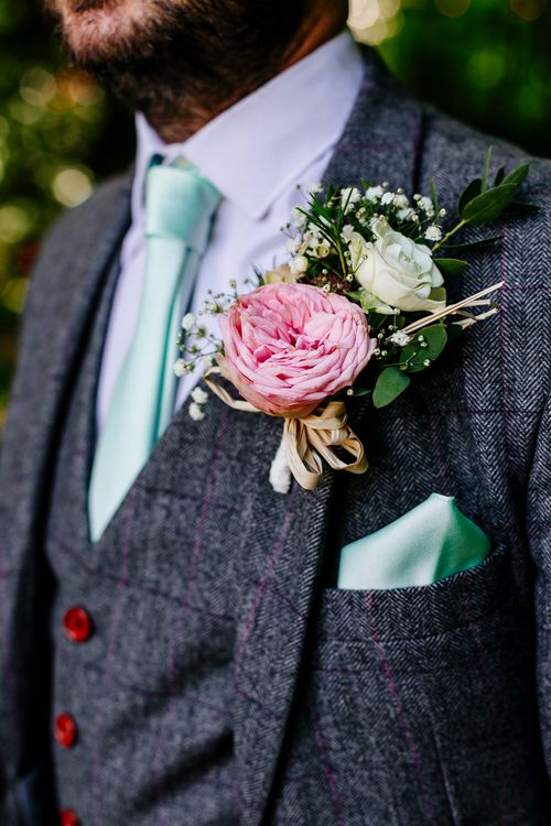 Pink Peony Buttonhole   Brightly Coloured Woodland Wedding   Epic Love Story Photography