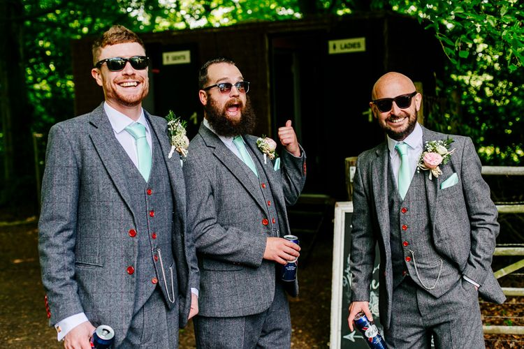 Groomsmen in Grey Tweed Suits   Brightly Coloured Woodland Wedding   Epic Love Story Photography