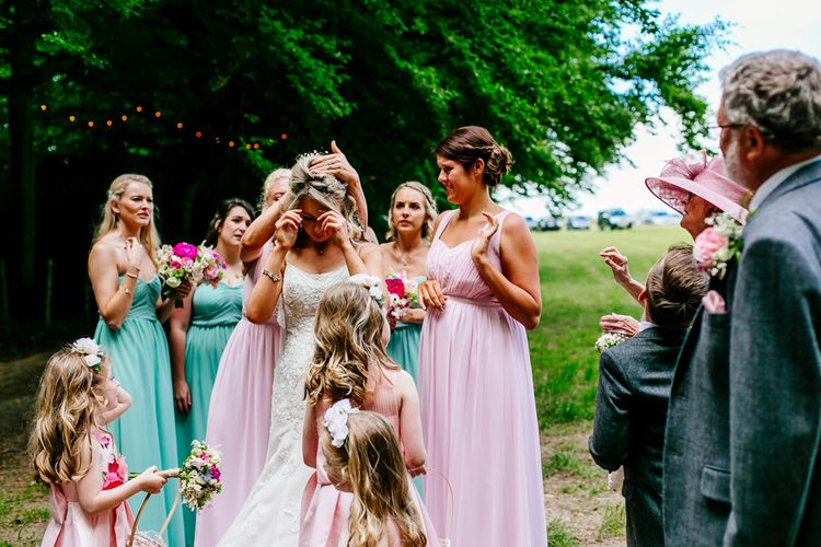 Bridal Party Entrance   Brightly Coloured Woodland Wedding   Epic Love Story Photography