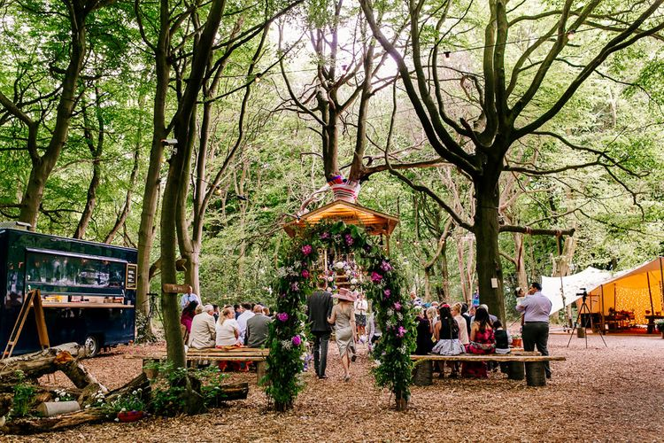 Floral Arch   Outdoor Wedding Ceremony   Brightly Coloured Woodland Wedding   Epic Love Story Photography