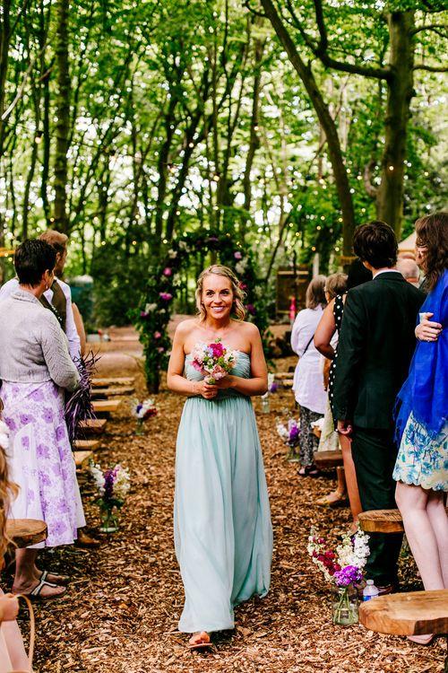 Bridesmaid   Outdoor Wedding Ceremony   Brightly Coloured Woodland Weddingy   Epic Love Story Photography