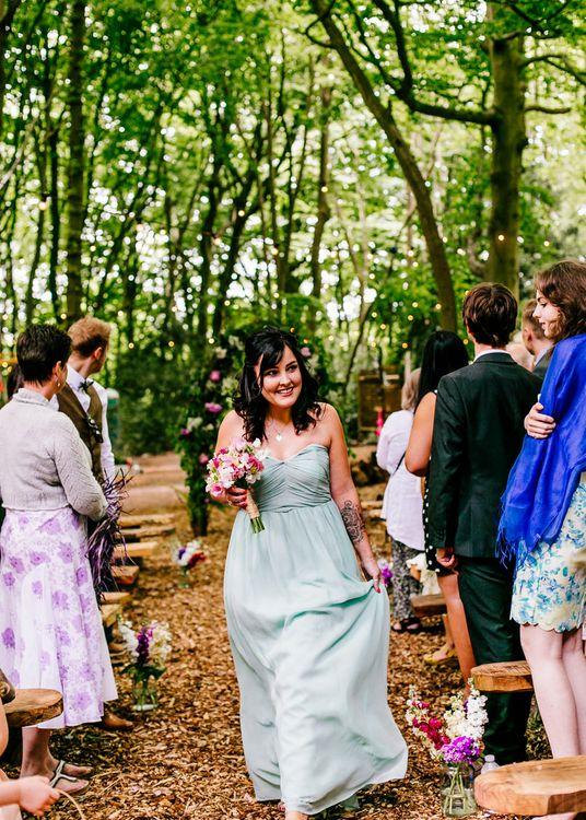 Bridesmaid   Outdoor Wedding Ceremony   Brightly Coloured Woodland Wedding   Epic Love Story Photography