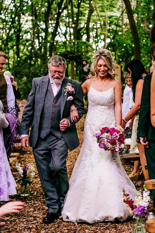 Bridal Entrance   Anna Sorrano Gown   Brightly Coloured Woodland Wedding   Epic Love Story Photography