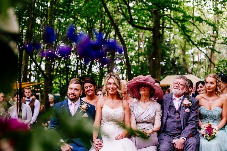 Outdoor Wedding Ceremony   Brightly Coloured Woodland Wedding   Epic Love Story Photography