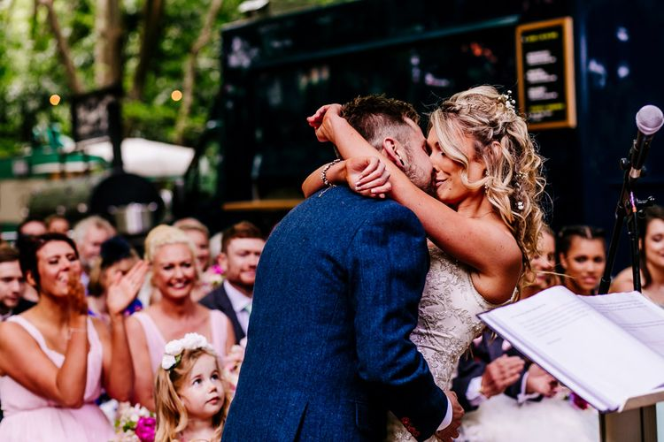 Outdoor Wedding Ceremony   Bride in Lace Anna Sorrano Gown   Groom in Tweed Vintage Suit Hire Suit   Epic Love Story Photography