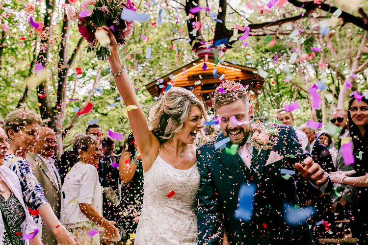 Confetti Moment   Bride in Lace Anna Sorrano Gown   Groom in Tweed Vintage Suit Hire Suit   Epic Love Story Photography