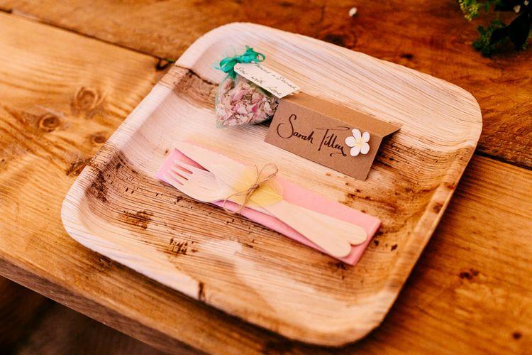 Eco Friendly Plates   Brightly Coloured Woodland Wedding   Epic Love Story Photography