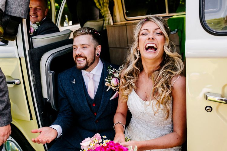 Bride in Lace Anna Sorrano Gown   Groom in Tweed Vintage Suit Hire Suit   Epic Love Story Photography