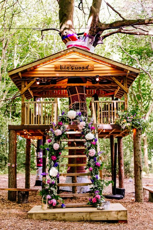 Tree House   Floral Arch   Brightly Coloured Woodland Weddingy   Epic Love Story Photography