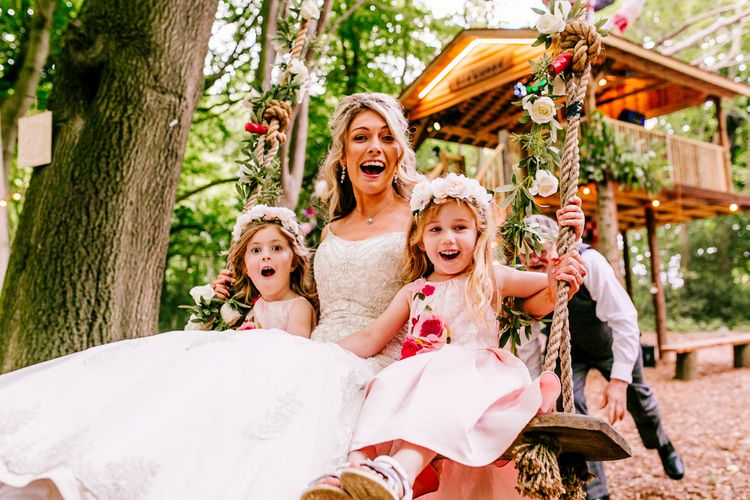 Swing   Bride in Lace Anna Sorrano Gown   Flower Girls   Epic Love Story Photography
