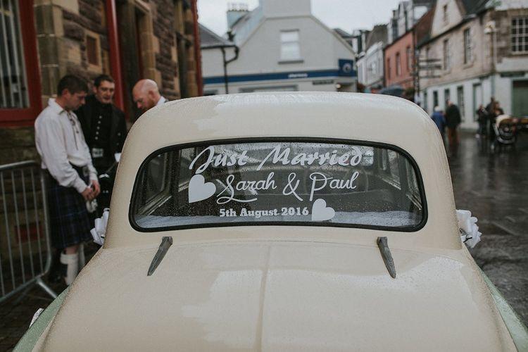 Vintage Wedding Car Just Married Sign