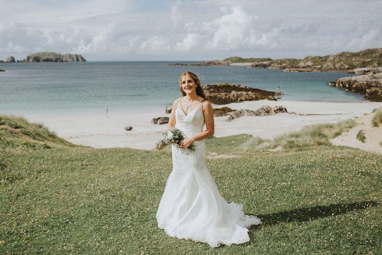 Bride in Essense of Australia Gown on Isle Lewis Outer Hebrides Wedding