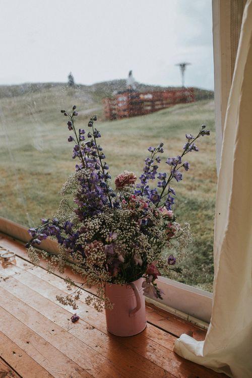 Wild Flowers in a Pitcher jug Wedding Decor