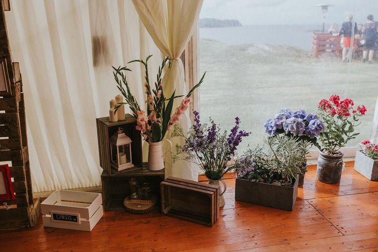 Rustic Crates & Plant Pots Wedding Decor